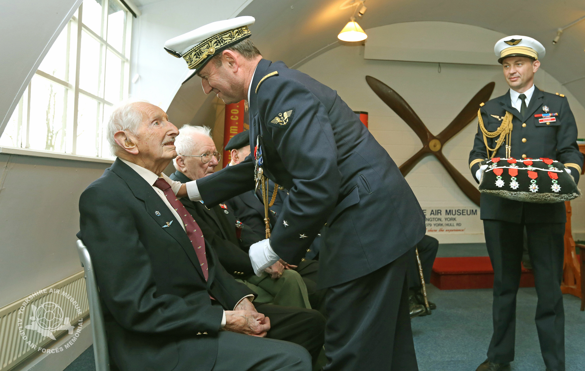 Contre Amiral Patrick Chevallereau presenting the Legion d'Honneur, Frances's highest award to Dennis Anderson from Hovingham. Picture: Richard Doughty Photography