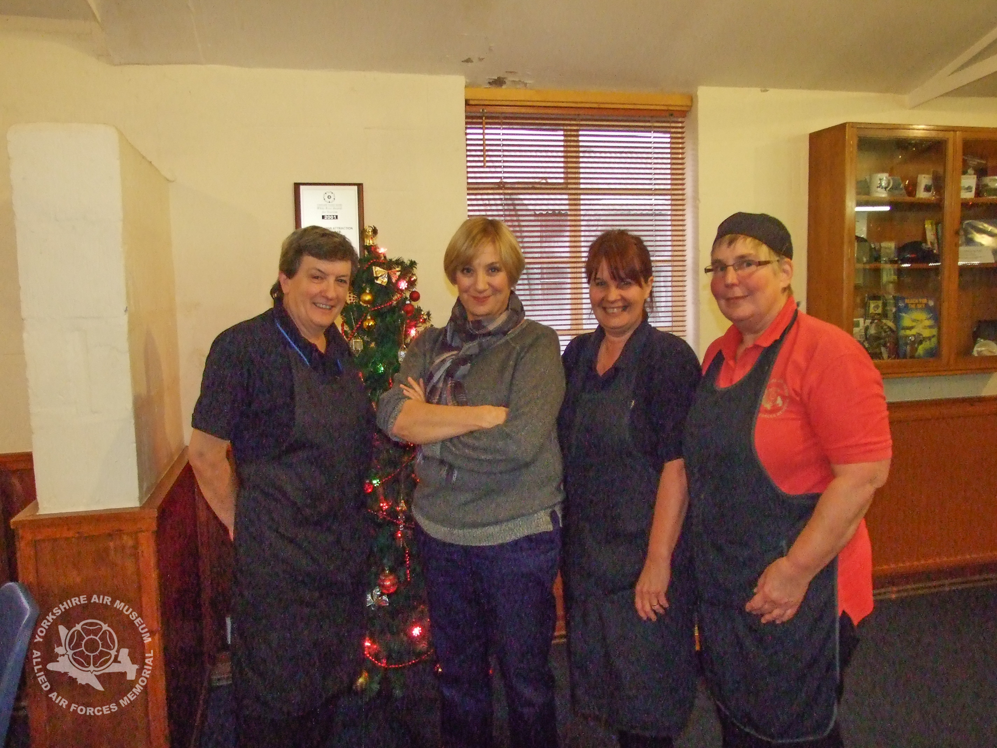From left to right, YAM catering assistant Jan Handley; Victoria Wood; catering assistant Pam Handley (she and Jan are sisters in law! and finally catering assistant Kath Mellor.