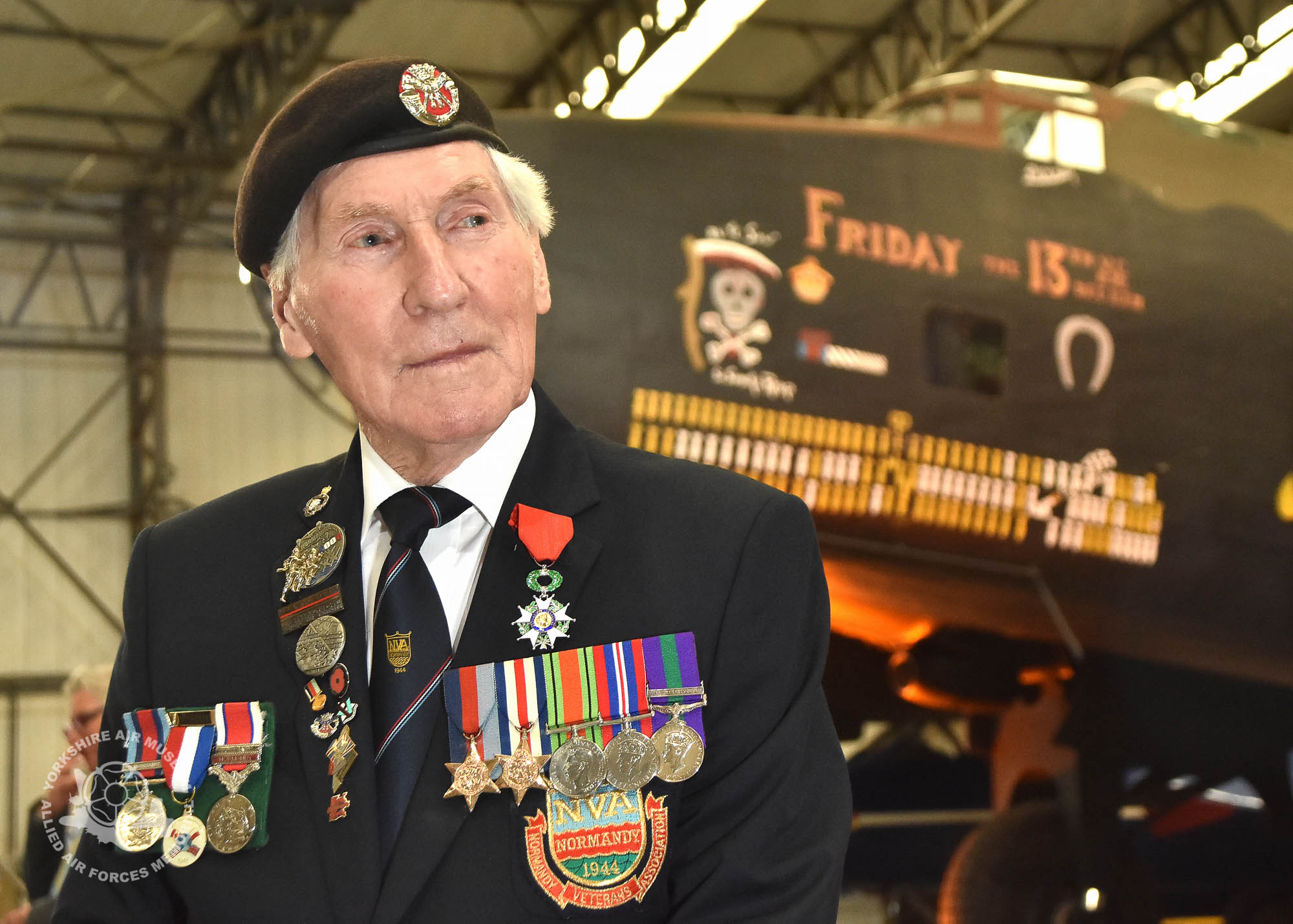 Legion d'Honneur medals presented to 21 Normandy Veterans at Yorkshire Air Museum on Sunday 22nd May, 2016. Pictured is Ken Smith of Wheldrake, York, who recieved the medal from Colonel Bruno Cunat, French Liasion Officer to the Ministry of Defence. Picture David Harrison/ Yorkshire Air Museum. (Private 5th BAttalion Duke of Cornwall's Light Infantry. Served in Normandy from D-Day. Wounded in action on 20th October 44 and evacuated by Dakota air ambulance to UK)