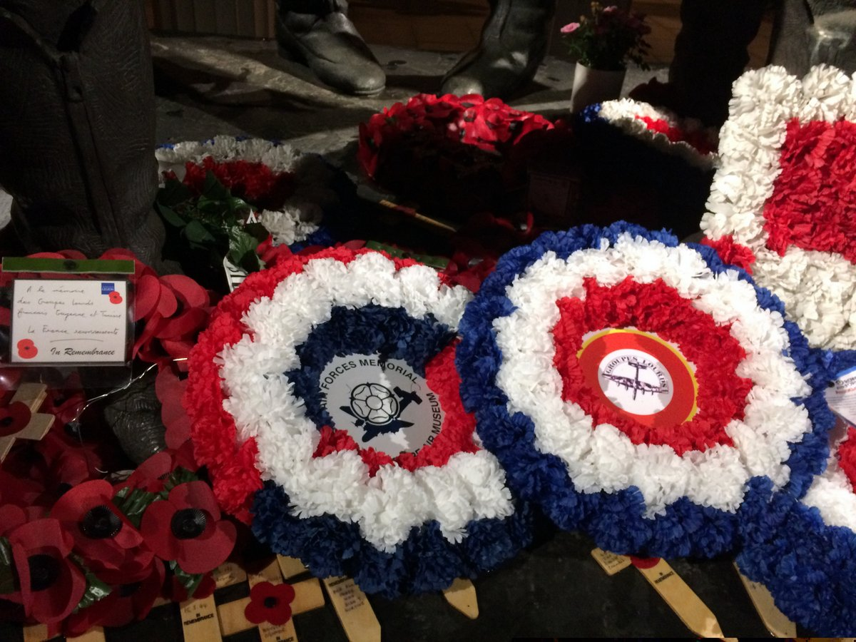 Allied Air Forces Memorial and Groupes Lourds wreaths at the Bomber Command Memorial, London